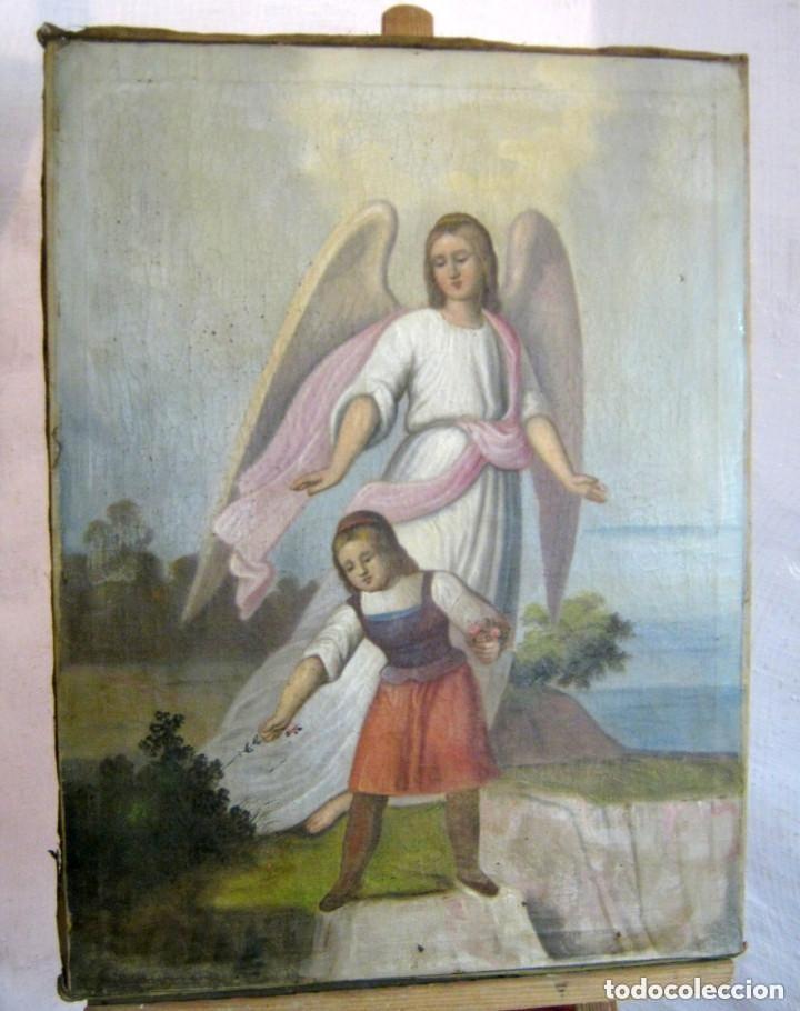 S.XVIII ANGEL DE LA GUARDA O CUSTODIO ARCANGEL SAN RAFAEL - PINTURA AL OLEO S/LIENZO (Arte - Pintura - Pintura al Óleo Antigua siglo XVIII)