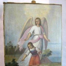 Arte: S.XVIII ANGEL DE LA GUARDA O CUSTODIO ARCANGEL SAN RAFAEL - PINTURA AL OLEO S/LIENZO. Lote 119134927
