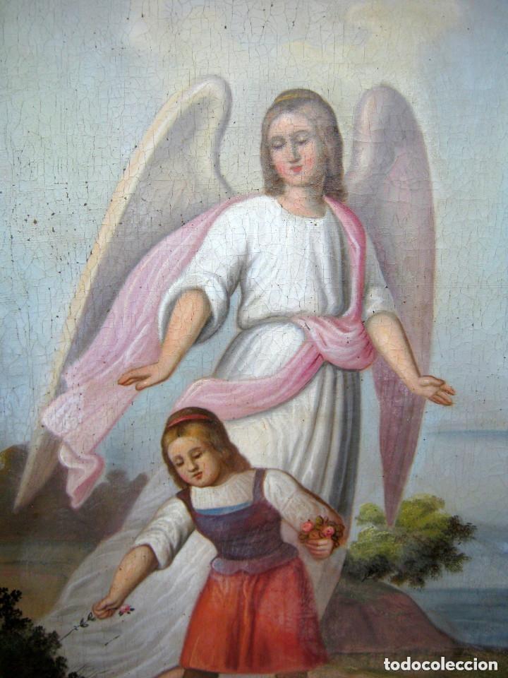 Arte: S.XVIII Angel de la Guarda o Custodio Arcangel San Rafael - Pintura al oleo s/lienzo - Foto 2 - 119134927