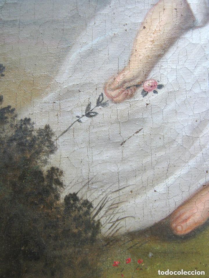 Arte: S.XVIII Angel de la Guarda o Custodio Arcangel San Rafael - Pintura al oleo s/lienzo - Foto 3 - 119134927