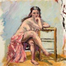 Arte: ANONIMO. OLEO SOBRE TELA. DESNUDO FEMENINO. Lote 119189595