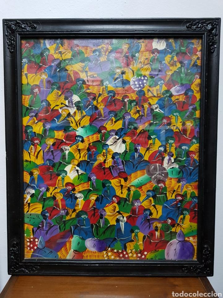 CUADRO ARTE AFRICANO FIRMADO POR S. POCHY (Arte - Pintura - Pintura al Óleo Contemporánea )