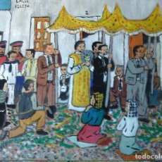 Arte: PROCESIÓN DEL CORPUS, ÓLEO MADERA DE 40X50 CM. AUTOR CRESPO. Lote 119243103