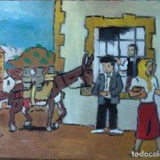 Arte: ESCENAS DE PLATERO ,LECHE DE BURRA, ÓLEO SOBRE MADERA DE 30X40 CM. AUTOR CRESPO. Lote 119243227