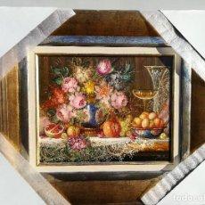 Arte: BODEGON DE FLORES Y FRUTA POR R.MICHEL. Lote 119378043