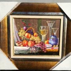 Arte: BODEGON DE CRISTAL Y FRUTA POR R.MICHEL. Lote 119378275