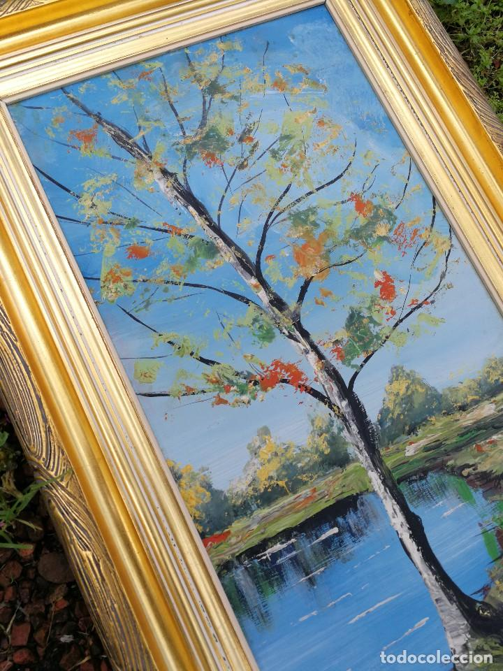 precioso óleo sobre tabla paisaje arbol abedul - Comprar Pintura al ...