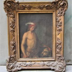 Arte: DAVID Y GOLIAT, ANÓNIMO, PINTURA AL ÓLEO SOBRE TELA. 38X45CM. Lote 119422831