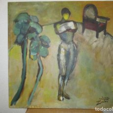 Arte: OBRA DE ESTEVE CASANOVA ZAPATA - MUJER EN LA HABITACION - 60 X 60 CM - ADJUNTO BIOGRAFIA. Lote 119451043