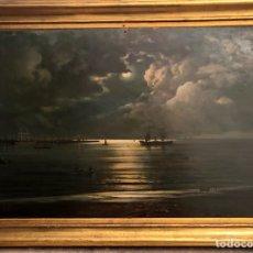 Arte: CAYETANO BENAVENT I ROCAMORA. SIGLO XIX. MARINA NOCTURNA. ÓLEO SOBRE TABLA.. Lote 147790120