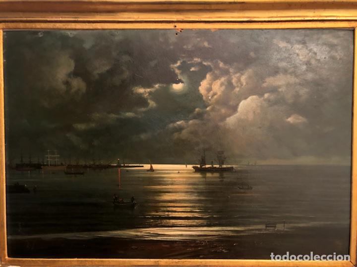 Arte: Cayetano Benavent i Rocamora. Siglo XIX. Marina nocturna. Óleo sobre tabla. - Foto 2 - 147790120