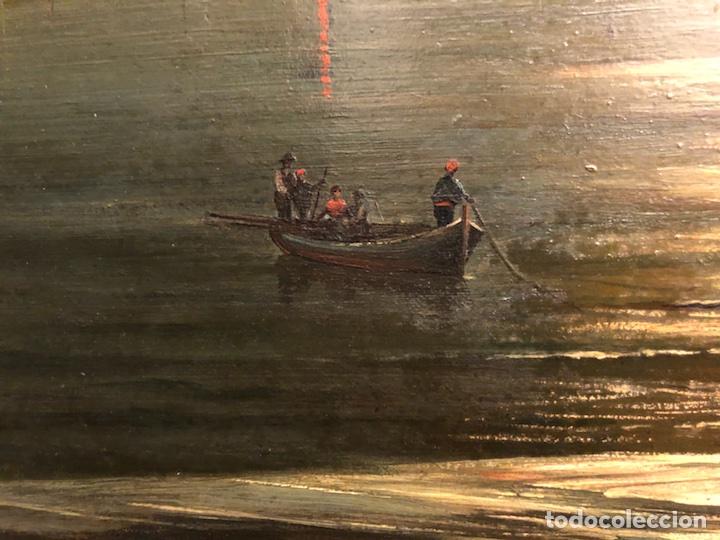 Arte: Cayetano Benavent i Rocamora. Siglo XIX. Marina nocturna. Óleo sobre tabla. - Foto 4 - 147790120