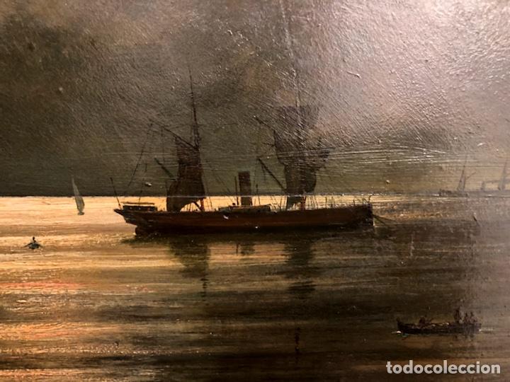 Arte: Cayetano Benavent i Rocamora. Siglo XIX. Marina nocturna. Óleo sobre tabla. - Foto 5 - 147790120