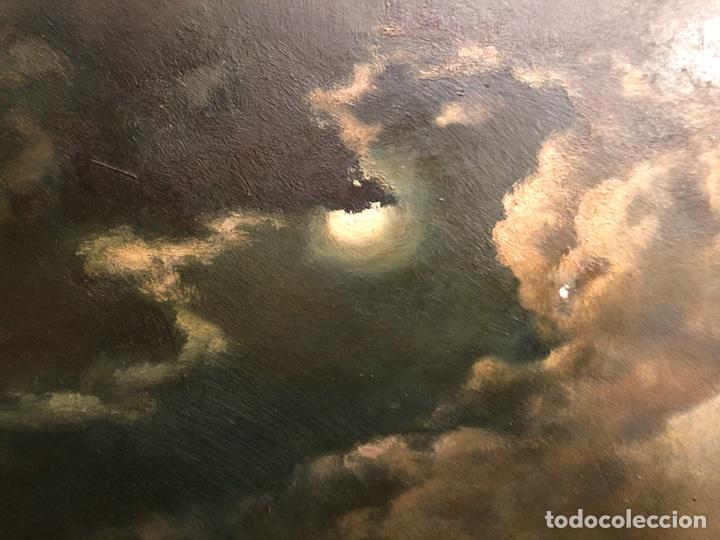 Arte: Cayetano Benavent i Rocamora. Siglo XIX. Marina nocturna. Óleo sobre tabla. - Foto 7 - 147790120