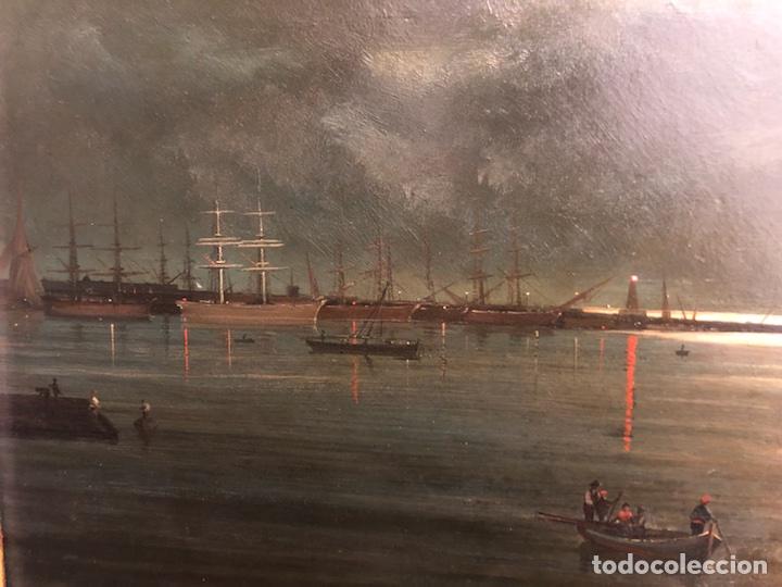 Arte: Cayetano Benavent i Rocamora. Siglo XIX. Marina nocturna. Óleo sobre tabla. - Foto 8 - 147790120
