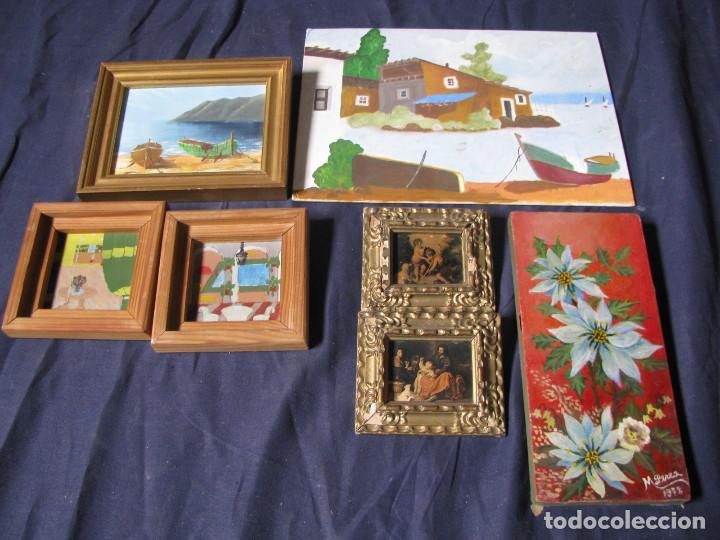 Lote De 7 Cuadros Diferentes Tecnicas Autores Comprar Pintura Al - Cuadros-diferentes