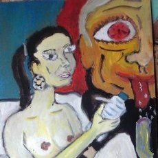 Arte: LA GITANA BLANCA, ÓLEO SOBRE MADERA, 30X40 CM. AUTOR CRESPO. Lote 142452621