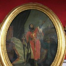 Arte: MAGNIFICO OLEO DE SAN FERNANDO SOBRE LIENZO SIGLO XIX CON GRAN MARCO MADERA Y ORO FINO - RELIGIOSO. Lote 119540147