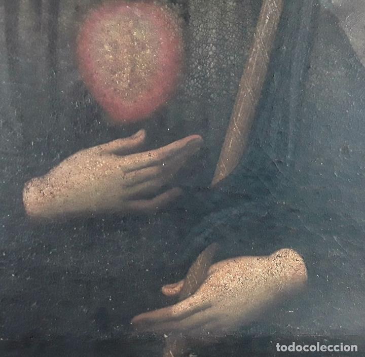 Arte: SANTA GERTRUDIS. ÓLEO SOBRE TELA. ANÓNIMO. ESCUELA ESPAÑOLA?. CIRCA S.XVIII. - Foto 7 - 119598683