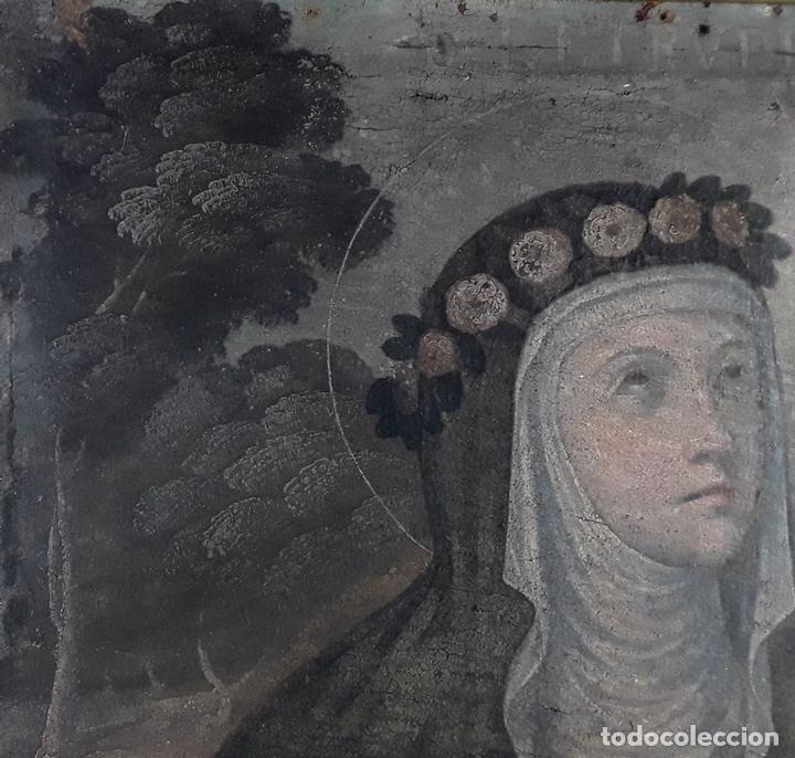 Arte: SANTA GERTRUDIS. ÓLEO SOBRE TELA. ANÓNIMO. ESCUELA ESPAÑOLA?. CIRCA S.XVIII. - Foto 9 - 119598683