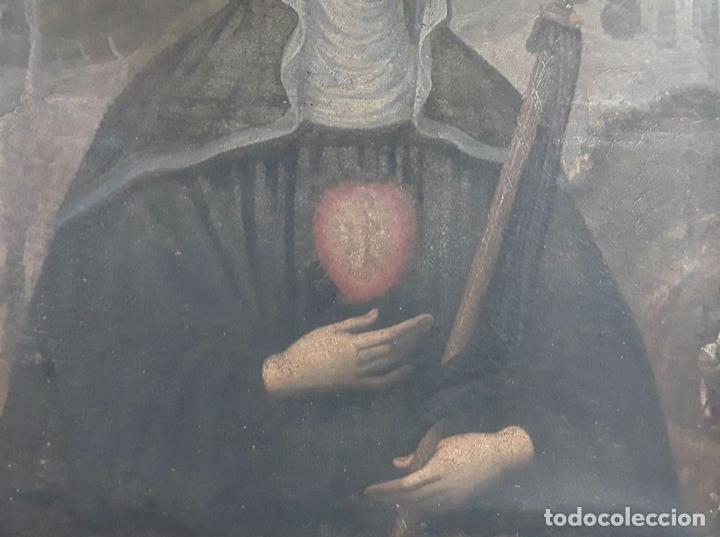 Arte: SANTA GERTRUDIS. ÓLEO SOBRE TELA. ANÓNIMO. ESCUELA ESPAÑOLA?. CIRCA S.XVIII. - Foto 10 - 119598683