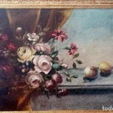 Arte: BODEGÓN DE FLORES CON FRUTA, OLEO SOBRE LIENZO, S XIX. Lote 119610843