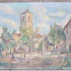 Arte: ENRIC PINET (1912-1974), PLAZA E IGLÉSIA, PINTURA AL ÓLEO SOBRE TELA. 100X65CM. Lote 119623635