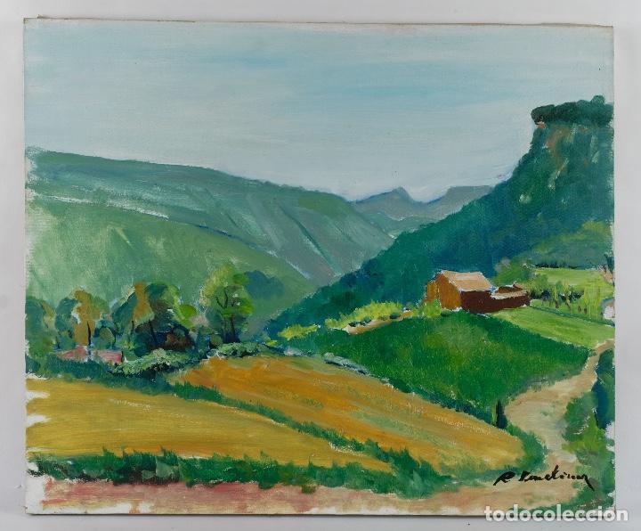 Arte: Rafel Serrahima óleo sobre lienzo Paisaje firmado mediados siglo XX - Foto 2 - 119697283