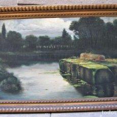 Arte: ATRIBUÏDO A ENRIC SERRA (1859-1918), LAGUNA, PINTURA AL ÓLEO SOBRE TELA SIN FIRMAR 130X86CM. Lote 119854627