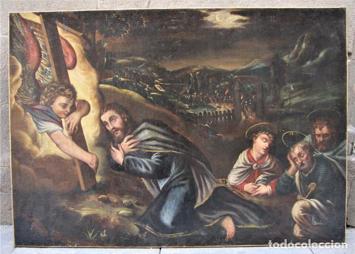 ESCENA RELIGIOSA, JESÚS Y ARCÁNGELES, PINTURA AL ÓLEO SOBRE TELA. 137X97CM (Arte - Pintura - Pintura al Óleo Moderna siglo XIX)
