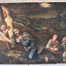 Arte: ESCENA RELIGIOSA, JESÚS Y ARCÁNGELES, PINTURA AL ÓLEO SOBRE TELA. 137X97CM. Lote 119855615
