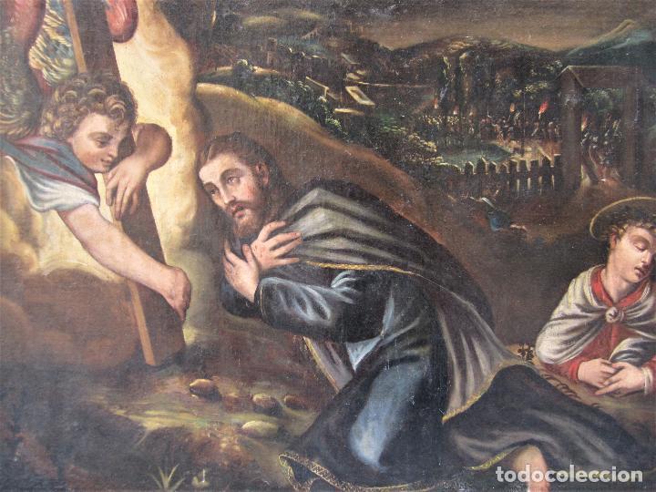 Arte: Escena religiosa, Jesús y arcángeles, pintura al óleo sobre tela. 137x97cm - Foto 2 - 119855615