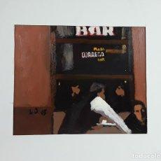 Arte: PLAZA DORREGO BAR. ÓLEO SOBRE TÁBLEX. LUIS JORGE. ARGENTINA. 2005.. Lote 119951731