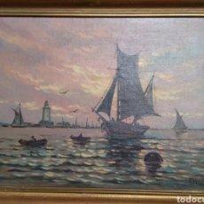 Arte: ÓLEO SOBRE LIENZO MARINA FIRMADO E MARIN. Lote 119954707