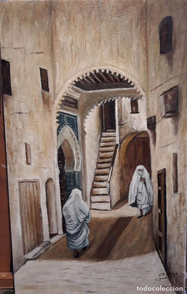 ARCO DE LA MEDINA. ÁRABE ORIENTALISTA. MORUNO. LIENZO 55X33. (Arte - Pintura - Pintura al Óleo Contemporánea )