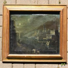 Arte: OLEO SOBRE TELA ESCUELA ITALIANA DE UN PAISAJE NOCTURNO DESCONOZCO ARTISTA DESCONOCIDO SIN FIRMA. Lote 120082091