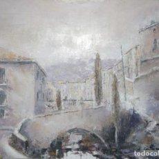 Arte: PUENTE DEL POSTIGO - CUENCA - ÓLEO SOBRE TABLA. Lote 120098959
