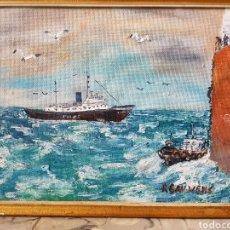Arte: FIRMADO BAUWENS, OLEO SOBRE TABLA, ESCENA BARCOS INGLESA.40X30CM. Lote 120257978