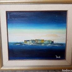 Arte: LA ISLA. OLEO SOBRE TABLA, FIRMADO Y ENMARCADO. 74X67CM. Lote 120258907