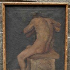 Arte: DESNUDO MASCULINO, SIN FIRMAR, PINTURA AL ÓLEO SOBRE TELA. 64,5X82CM. Lote 120294655