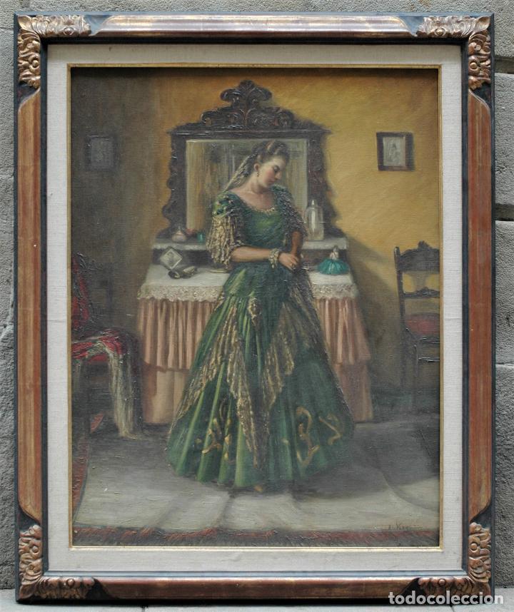 MUJER EN HABITACIÓN, FIRMADO VERGARA, PINTURA AL ÓLEO SOBRE TELA. 116X95CM (Arte - Pintura - Pintura al Óleo Antigua sin fecha definida)