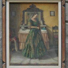 Arte: MUJER EN HABITACIÓN, FIRMADO VERGARA, PINTURA AL ÓLEO SOBRE TELA. 116X95CM. Lote 120299195