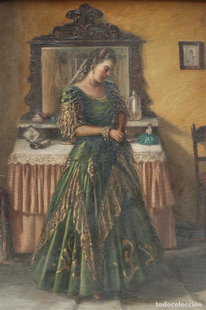Arte: Mujer en habitación, firmado Vergara, pintura al óleo sobre tela. 116x95cm - Foto 2 - 120299195