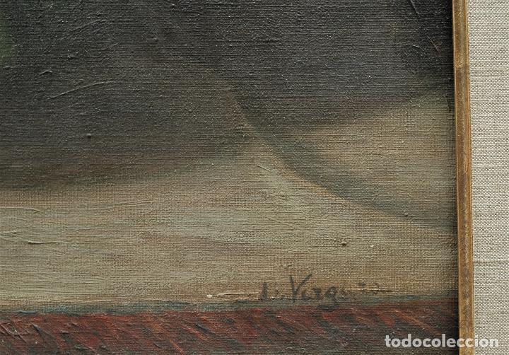 Arte: Mujer en habitación, firmado Vergara, pintura al óleo sobre tela. 116x95cm - Foto 3 - 120299195
