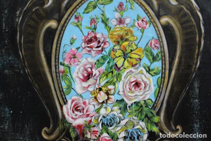 Arte: /Somete el oído al silencio de las flores/ Pintura sobre Partituras de música antiguas y lino. - Foto 3 - 118898363