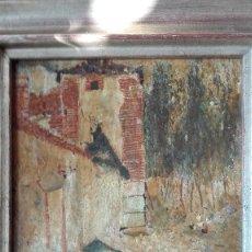 Arte: PAISAJE CASA,ÁRBOLES Y GALLINAS,PINTURA IMPRESIONI STA S:XIX-XX,FIRMADO .. Lote 120331959