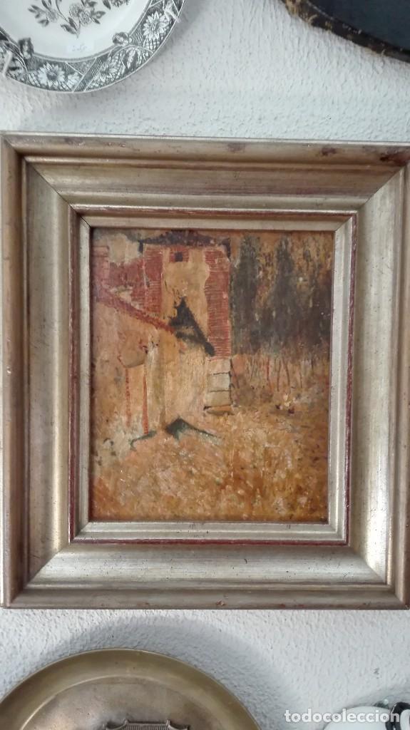 Arte: Paisaje casa,árboles y gallinas,pintura impresioni sta s:XIX-XX,firmado . - Foto 2 - 120331959