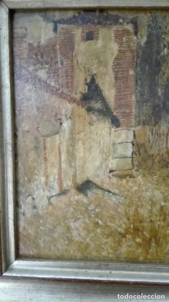 Arte: Paisaje casa,árboles y gallinas,pintura impresioni sta s:XIX-XX,firmado . - Foto 6 - 120331959