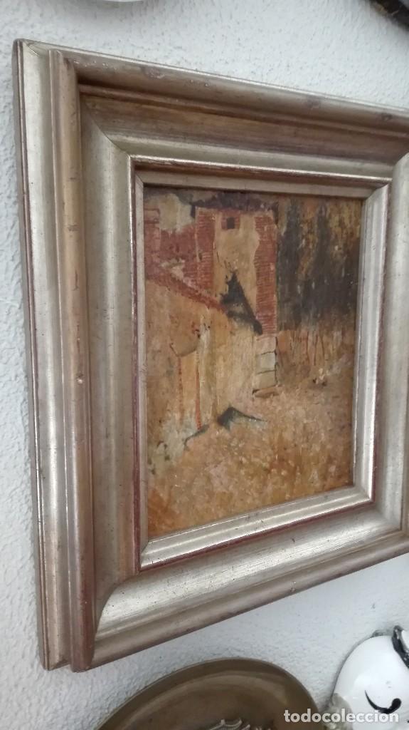 Arte: Paisaje casa,árboles y gallinas,pintura impresioni sta s:XIX-XX,firmado . - Foto 7 - 120331959