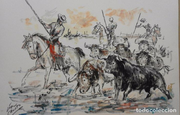 Arte: TOROS CRUZANDO EL RIO. LOPEZ CANITO. 50X35,8. RECIEN ENMARCADO. - Foto 5 - 58837821